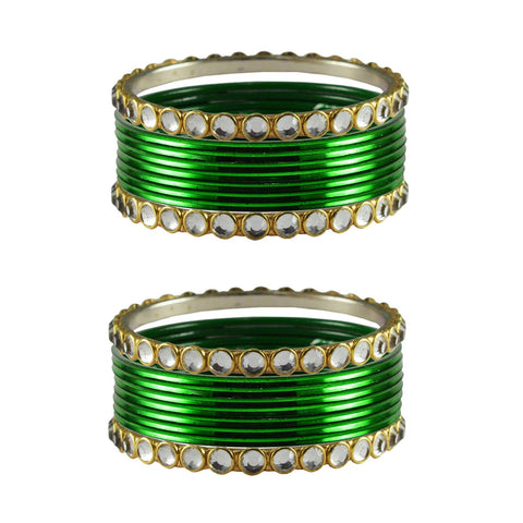 Green Color Stone Stud Metal Bangle - ban4120