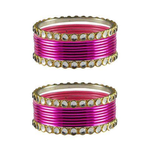 Dark Rani Color Stone Stud Metal Bangle - ban4121