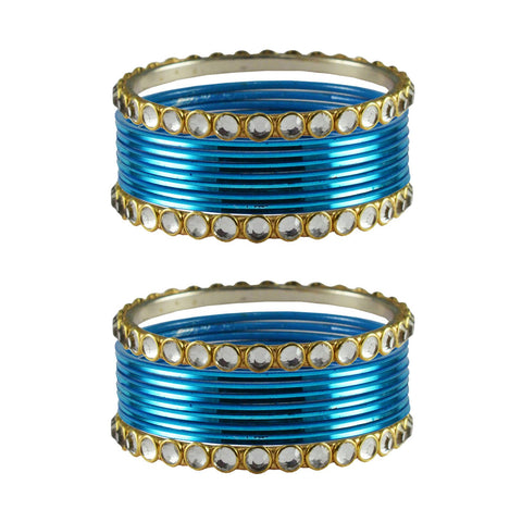 Firozi Color Stone Stud Metal Bangle - ban4122