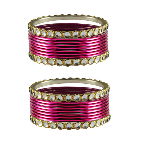 Rani Color Stone Stud Metal Bangle - ban4123