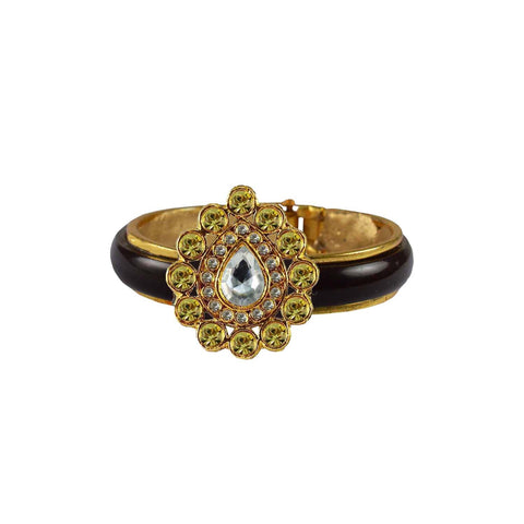 Maroon Color Stone Stud Acrylic-Brass Bangle - ban4253