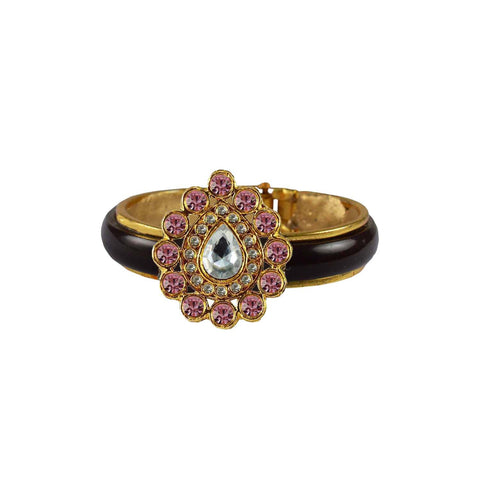 Maroon Color Stone Stud Acrylic-Brass Bangle - ban4257