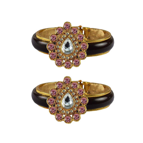 Maroon Color Stone Stud Acrylic-Brass Bangle - ban4258