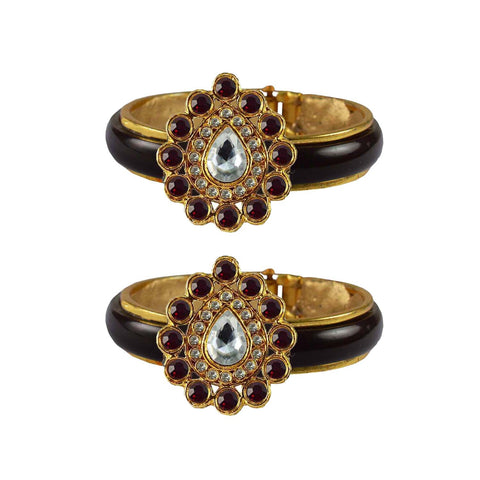 Maroon Color Stone Stud Acrylic-Brass Bangle - ban4262