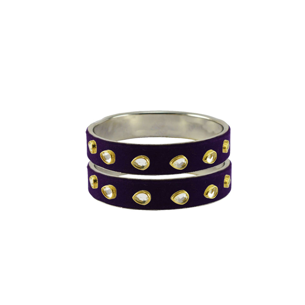 Purple Color Brass Stone Stud Bangle - ban7284