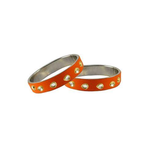 Orange Color Brass Stone Stud Bangle - ban7286