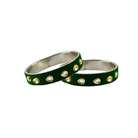 Green Color Brass Stone Stud Bangle - ban7288