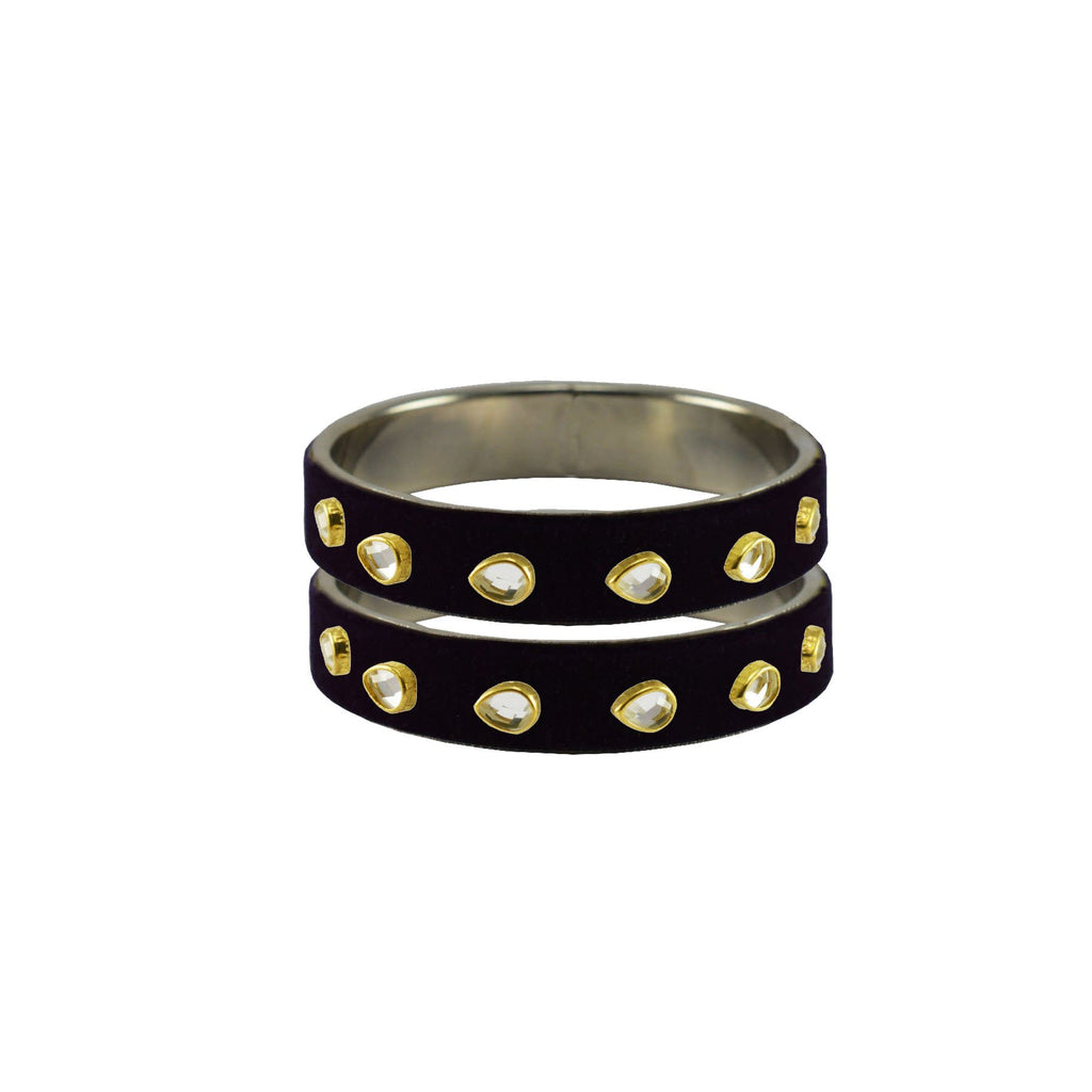 Black Color Brass Stone Stud Bangle - ban7293