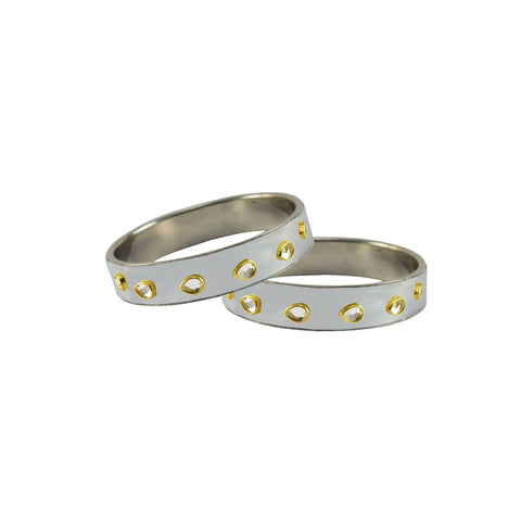 White Color Brass Stone Stud Bangle - ban7295