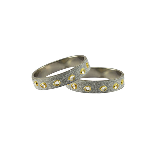 White Color Brass Stone Stud Bangle - ban7298