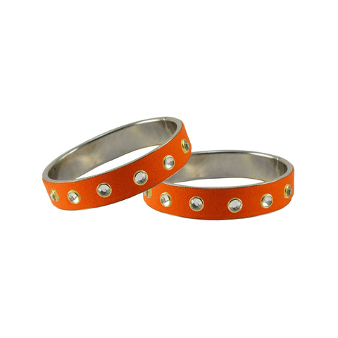 Orange Color Brass Stone Stud Bangle - ban7302