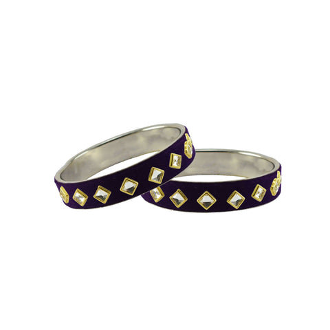 Black Color Brass Stone Stud Bangle - ban7316