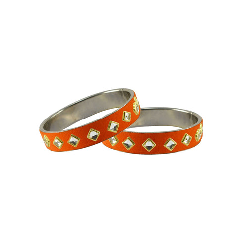 Orange Color Brass Stone Stud Bangle - ban7318