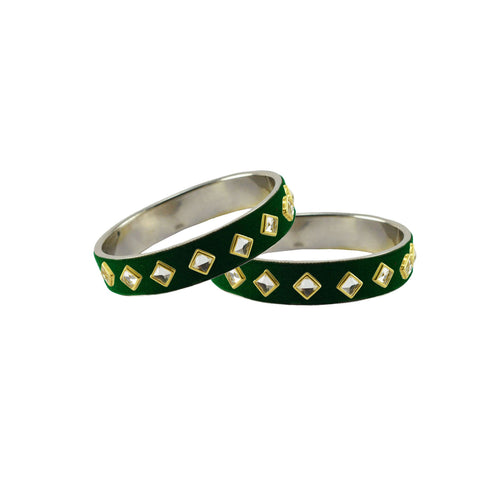 Green Color Brass Stone Stud Bangle - ban7320
