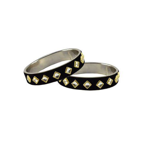 Black Color Brass Stone Stud Bangle - ban7322