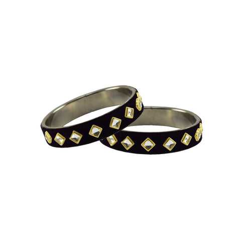 Black Color Brass Stone Stud Bangle - ban7325