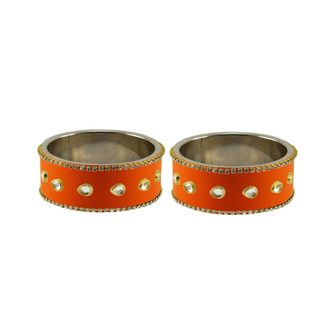Orange Color Brass Stone Stud Bangle - ban7332