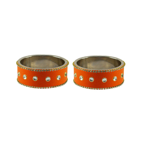 Orange Color Brass Stone Stud Bangle - ban7348