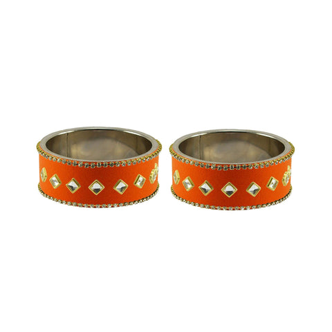 Orange Color Brass Stone Stud Bangle - ban7364