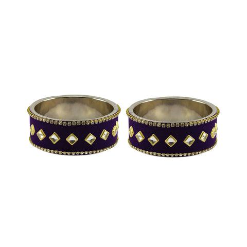 Purple Color Brass Stone Stud Bangle - ban7365