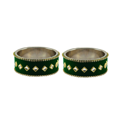 Green Color Brass Stone Stud Bangle - ban7366
