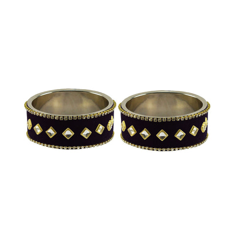 Black Color Brass Stone Stud Bangle - ban7374