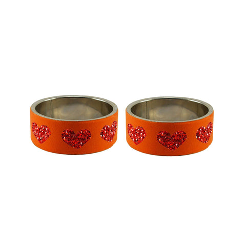 Orange Color Brass Stone Stud Bangle - ban7380