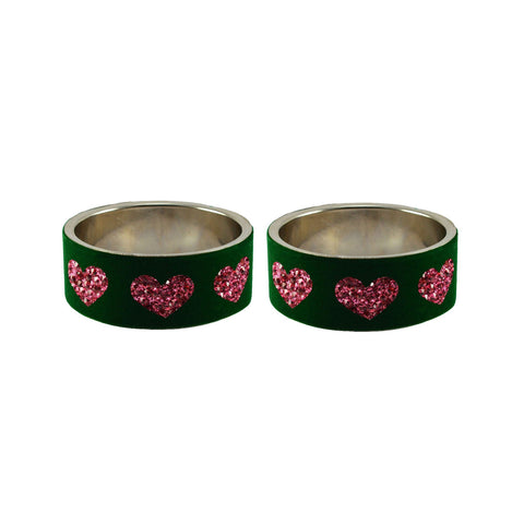 Green Color Brass Stone Stud Bangle  - ban7411