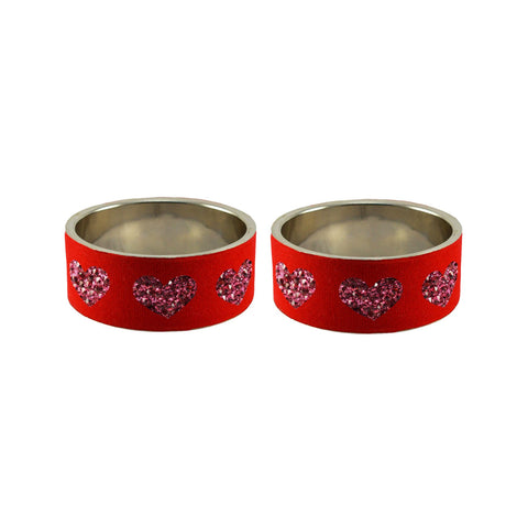 Red Color Brass Stone Stud Bangle  - ban7417