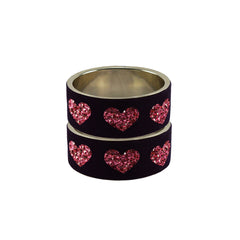 Black Color Brass Stone Stud Bangle  - ban7419