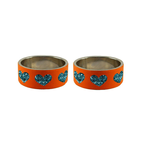 Orange Color Brass Stone Stud Bangle  - ban7425
