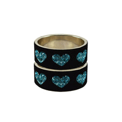 Black Color Brass Stone Stud Bangle  - ban7429