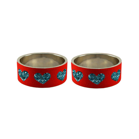 Red Color Brass Stone Stud Bangle  - ban7433