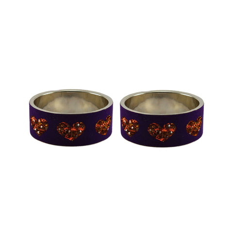 Purple Color Brass Stone Stud Bangle  - ban7442