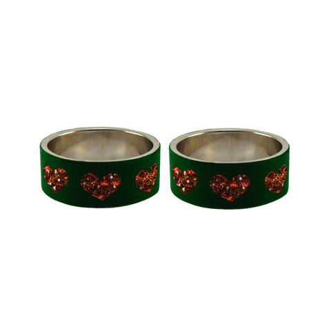Green Color Brass Stone Stud Bangle  - ban7443