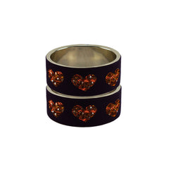 Purple Color Brass Stone Stud Bangle  - ban7451
