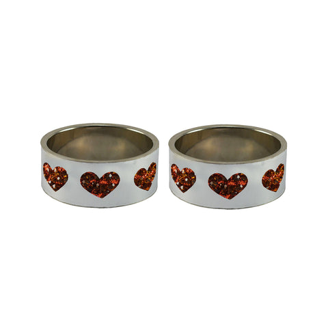 White Color Brass Stone Stud Bangle  - ban7452