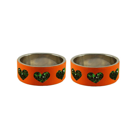 Orange Color Brass Stone Stud Bangle  - ban7457
