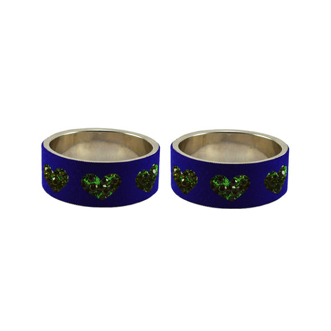 Blue Color Brass Stone Stud Bangle - ban7463