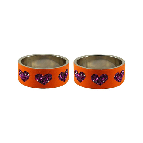 Orange Color Brass Stone Stud Bangle - ban7472