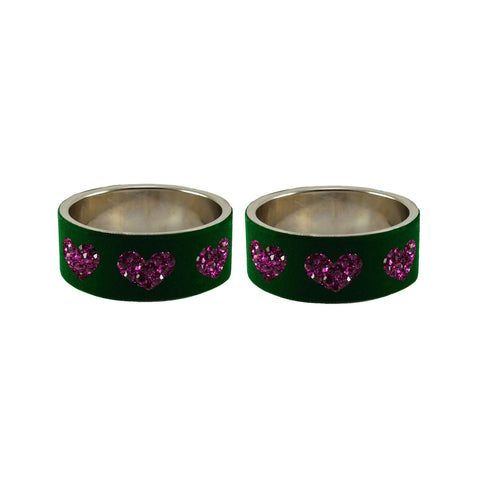 Green Color Brass Stone Stud Bangle - ban7474