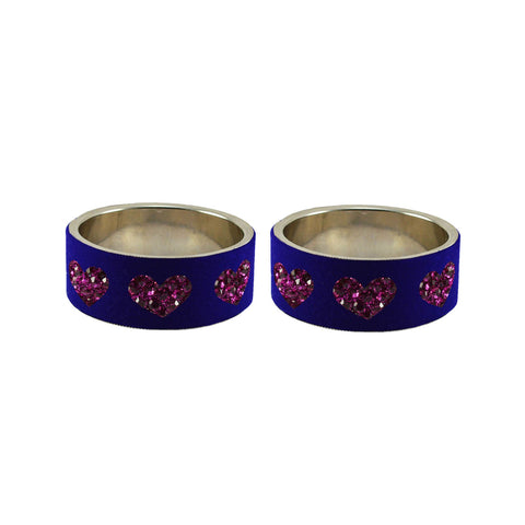Blue Color Brass Stone Stud Bangle - ban7479