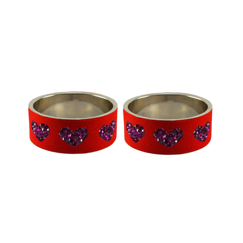 Red Color Brass Stone Stud Bangle - ban7480