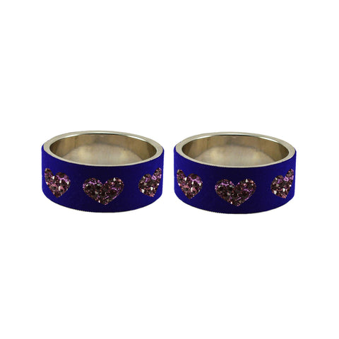 Blue Color Brass Stone Stud Bangle - ban7495
