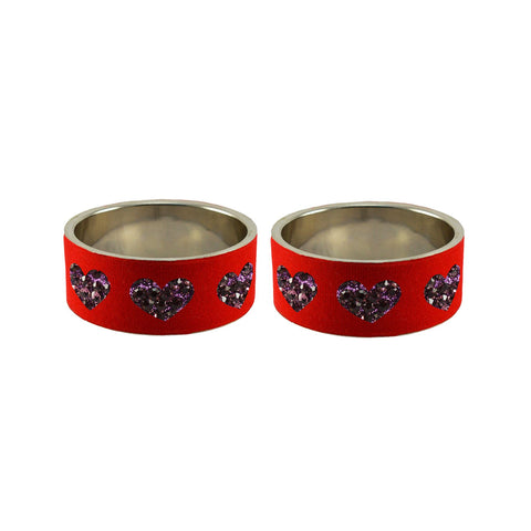 Red Color Brass Stone Stud Bangle - ban7496