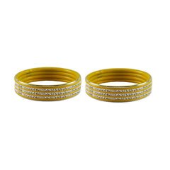 Buy Yellow Color Metal Stone Stud Bangle
