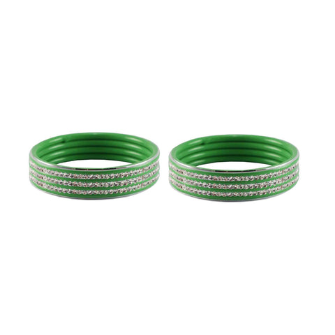 Green Color Metal Stone Stud Bangle - ban7523