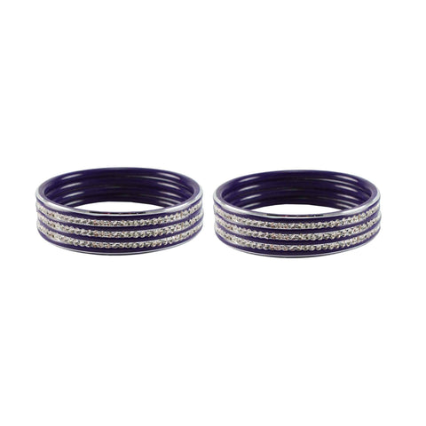 Purple Color Metal Stone Stud Bangle - ban7526