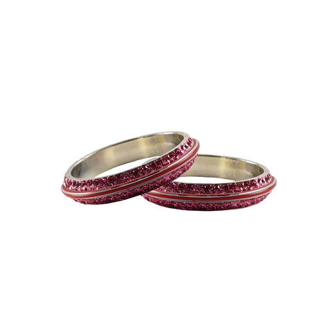 Pink Color Metal Stone Stud Bangle - ban7974
