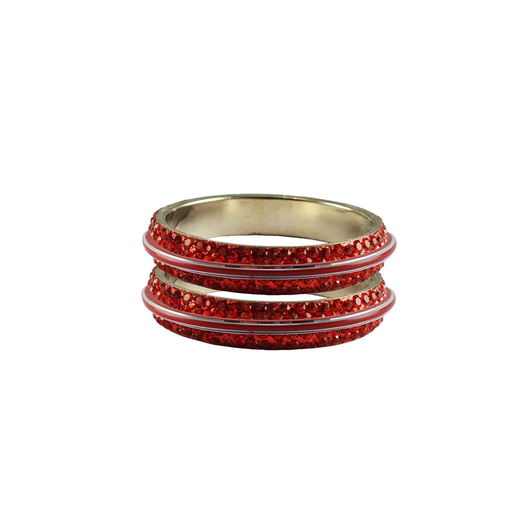 Red Color Metal Stone Stud Bangle - ban7976